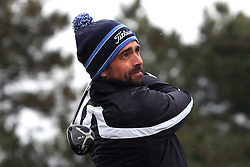 England's Lee Slattery tees off the 11th during day one of the Betfred British Masters at Hillside Golf Club, Southport.