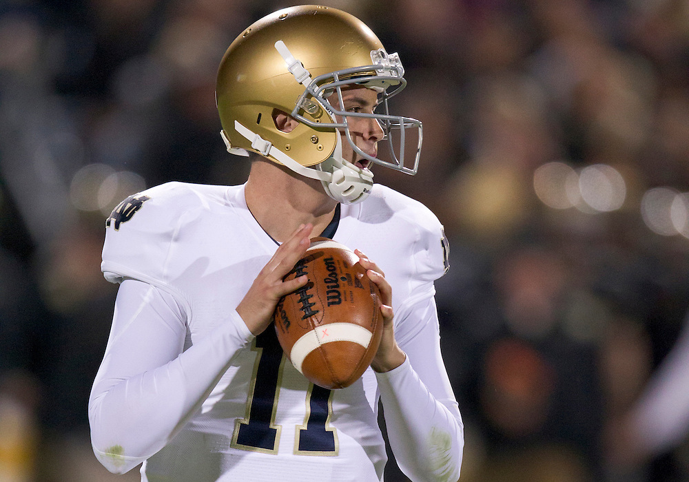 October 01, 2011:  Notre Dame quarterback Tommy Rees (#11) drops back to pass the ball during NCAA Football game action between the Notre Dame Fighting Irish and the Purdue Boilermakers at Ross-Ade Stadium in West Lafayette, Indiana.  Notre Dame defeated Purdue 38-10.