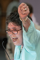 © Licensed to London News Pictures . 26/05/2019. Manchester, UK.  CLAIRE FOX (Brexit Party) delivers her victory speech . The count for seats in the constituency of North West England in the European Parliamentary election , at Manchester Central convention centre . Photo credit: Joel Goodman/LNP