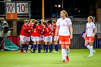 ROTTERDAM - voetbal, Noorwegen - Nederland, vrouwen, Olympisch kwalificatie toernooi, 05-03-2016, Sparta-stadion Het Kasteel, eindstand 4-1, Noorwegen viert feest Nederland baalt