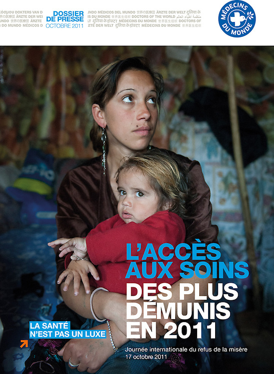 Cover, Press release NGO Doctors of the World, Medical care to Roma. (France)