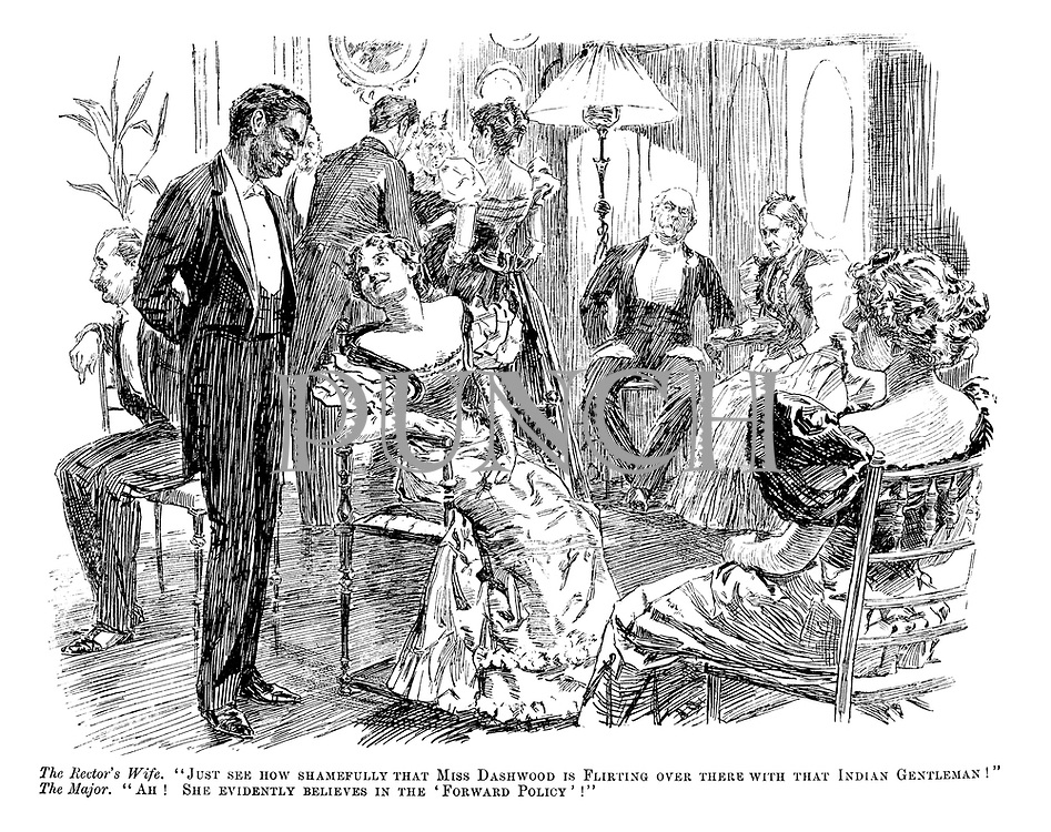 "The Rector's Wife. ""Just see how shamefully that Miss Dashwood is flirting over there with that Indian gentleman!"" The Major. ""Ah! She evidently believes in the 'forward policy'!"""