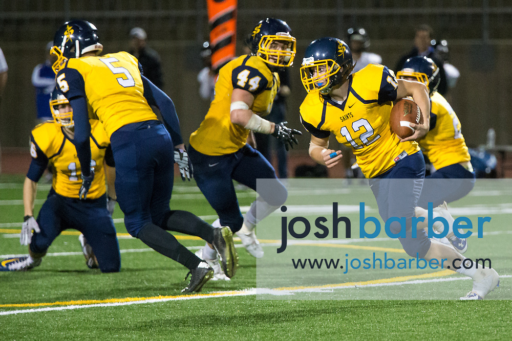 Crean Lutheran's Zach Macadam (12) during the CIF-SS East Valley Divison Second Round  at Irvine High School on Friday, November 20, 2015 in Irvine, California. (Photo/Josh Barber)