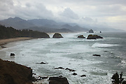 USA, Oregon, Ecola State Park, the Oregon Coast as seen from Ecola State Park during stormy weather.