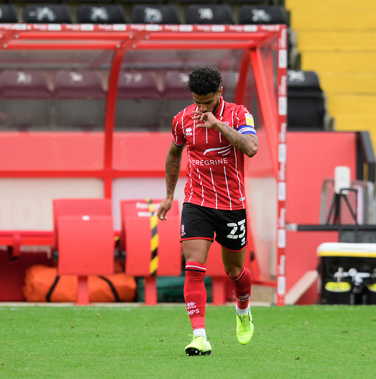 Lincoln City's Liam Bridcutt makes his way onto the pitch prior to the game<br /> <br /> Photographer Chris Vaughan/CameraSport<br /> <br /> The EFL Sky Bet League One - Lincoln City v Charlton Athletic - Sunday 27th September, 2020 - LNER Stadium - Lincoln<br /> <br /> World Copyright © 2020 CameraSport. All rights reserved. 43 Linden Ave. Countesthorpe. Leicester. England. LE8 5PG - Tel: +44 (0) 116 277 4147 - admin@camerasport.com - www.camerasport.com