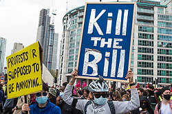 Thousands of people attending a Kill The Bill demonstration pass through Vauxhall as part of a National Day of Action to mark International Workers Day on 1st May 2021 in London, United Kingdom. Nationwide protests have been organised against the Police, Crime, Sentencing and Courts Bill 2021, which would grant the police a range of new discretionary powers to shut down protests.