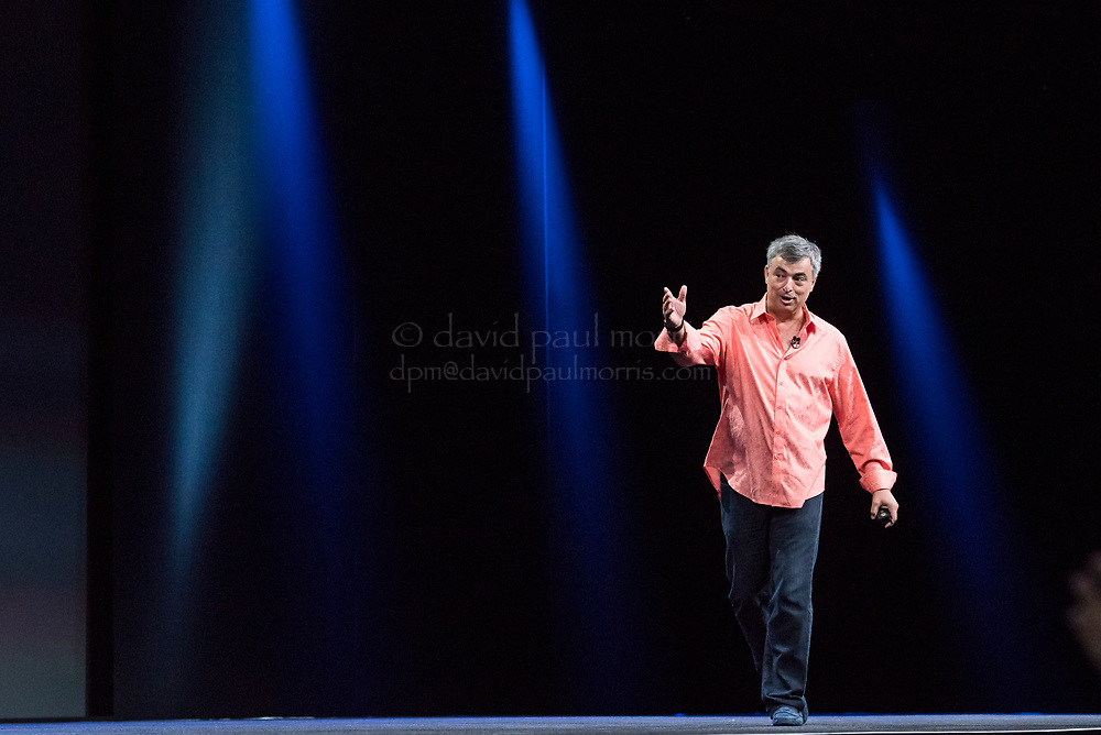 Eddy Cue, senior vice president of Internet Software and Services at Apple Inc., speaks during the Apple World Wide Developers Conference (WWDC) in San Francisco, California, U.S., on Monday, June 8, 2015. Apple Inc., the maker of iPhones and iPads, will introduce software improvements for its computer and mobile devices as well as reveal new updates, including the introduction of a revamped streaming music service. Photographer: David Paul Morris/Bloomberg *** Local Caption *** Eddy Cue