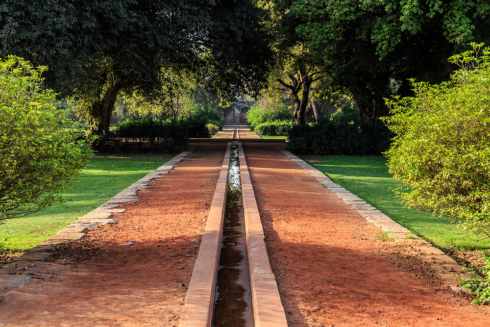 The Charbagh garden  at Humayun's Tomb in New Delhi, India. This tomb, built in 1570, is of particular cultural significance as it was the first garden-tomb on the Indian subcontinent.