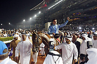 Galopp<br /> Foto: imago/Digitalsport<br /> NORWAY ONLY<br /> <br /> 28.03.2015, Dubai, UAE, VEREINIGTE ARABISCHE EMIRATE - Prince Bishop with Wiliam Buick up wins the Dubai World Cup 2015. left Trainer Saeed bin Suroor, right owner Sh. Hamden bin Mohamed al Maktoum. Meydan racecourse.
