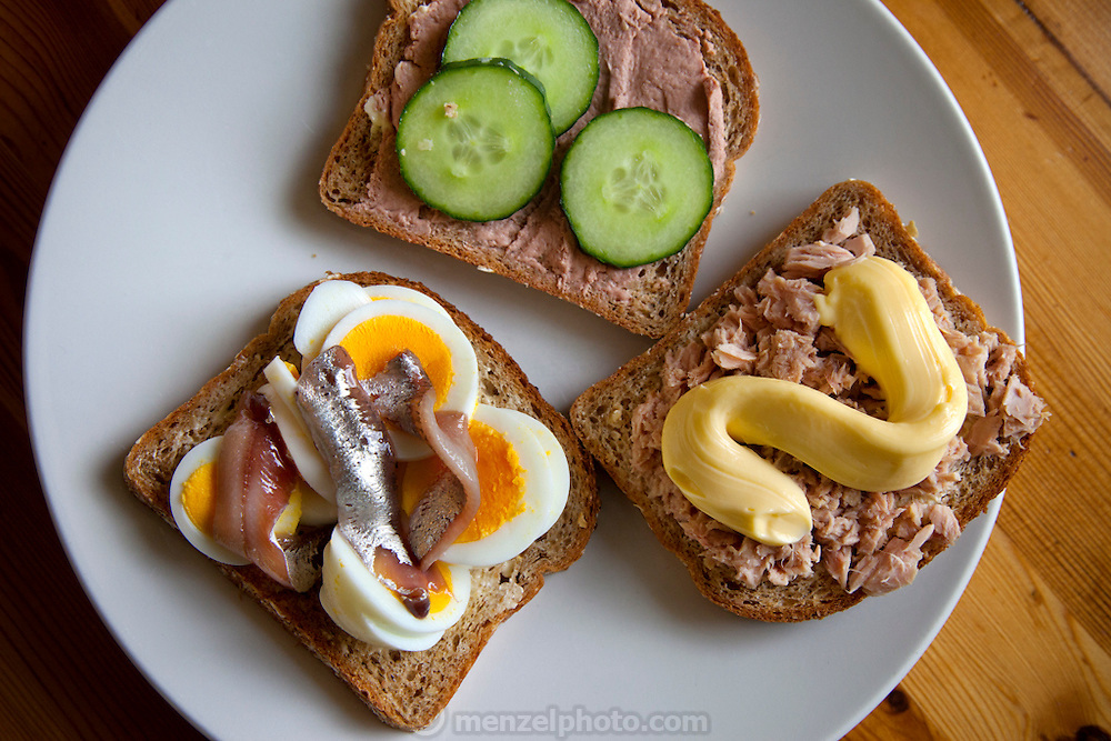 Open face sandwiches of the Glad Ostensen family in Gjerdrum, Norway.
