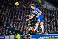 Brighton and Hove Albion (5) Lewis Dunk, Crystal Palace #5 James Tomkins during the Premier League match between Brighton and Hove Albion and Crystal Palace at the American Express Community Stadium, Brighton and Hove, England on 28 November 2017. Photo by Sebastian Frej.