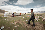 Rosman Baig after building the yurt..Daily life at the Khan (chief) summer camp of Kara Jylga...Trekking through the high altitude plateau of the Little Pamir mountains (average 4200 meters) , where the Afghan Kyrgyz community live all year, on the borders of China, Tajikistan and Pakistan.
