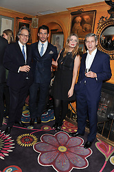 Left to right, the EARL OF MARCH, DAVID GANDY, MISCHA BARTON and SIR STUART ROSE at the Johnnie Walker Blue Label and David Gandy partnership launch party held at Annabel's, 44 Berkeley Square, London on 5th February 2013.