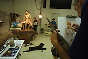 Drawing, painting and sculpting art class with a nude model at Chelsea School of Fine Art in Manhattan, NY. 8/2/2006 Photo by Jennifer S. Altman/For The Times