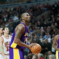 15 December 2009: Los Angeles Lakers guard Kobe Bryant is seen at the free throw line during the Los Angeles Lakers 96-87 victory over the Chicago Bulls at the United Center, in Chicago, Illinois, USA.