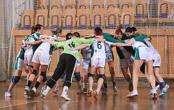 Krka celebrates at Women Slovenian Handball Cup, finals match for third place between RK Celeia Zalec and ZRK Krka, on April 5, 2009, in Arena Tivoli, Ljubljana, Slovenia. Won of Krka 27:24. (Photo by Vid Ponikvar / Sportida)