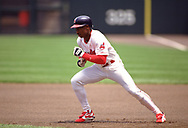 CLEVELAND - 1995:  Kenny Lofton of the Cleveland Indians runs the bases during an MLB game at Jacobs Field in Cleveland, Ohio during the 1995 season. (Photo by Ron Vesely) Subject:   Kenny Lofton