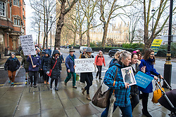 © Licensed to London News Pictures. 15/01/2018. London, UK. Supporters of homeopathic veterinary medicine protest outside the Royal College of Veterinary Surgeons. Photo credit: Rob Pinney/LNP