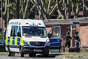 Birmingham, United Kingdom, June 15, 2021: Police are seen at the site as Members of Protestor Removal Police Unit are seen entering the Arconic site factory in Birmingham on Tuesday, June 15, 2021. (VX Photo/ Vudi Xhymshiti)