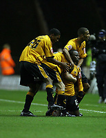 Photo: Rich Eaton.<br /> <br /> Wolverhampton Wanderers v Sunderland. Coca Cola Championship. 24/11/2006. Jemal Johnson centre of Wolves celebrates with teammates after scoring a long range spectacular  goal in the first half