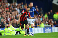 Adam Smith of Bournemouth (l) breaks away from Gylfi Sigurdsson of Everton. Premier league match, Everton vs Bournemouth at Goodison Park in Liverpool, Merseyside on Saturday 23rd September 2017.<br /> pic by Chris Stading, Andrew Orchard sports photography.