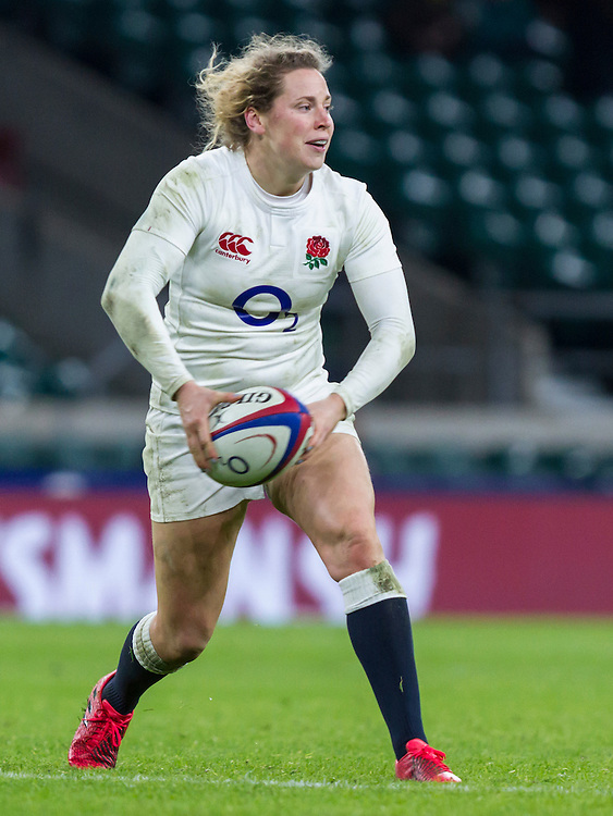 Amber Reed in action, England Women v France Women in a 6 Nations match at Twickenham Stadium, London, England, on 4th February 2017 Final Score 26-13.