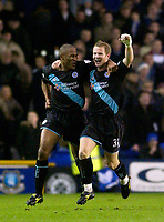 Photo. Jed Wee.<br /> Everton v Leicester City, FA Barclaycard Premiership, Goodison Park, Liverpool. 20/12/2003.<br /> Leicester's Les Ferdinand (L) celebrates his goal with Ben Thatcher.