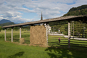 A traditional Slovenian drying frame hay rack called a kozolec, on 18th June 2018, in Bohinjska Bela, Bled, Slovenia.