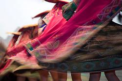 Swirling skirts of dancers, Cuzco, Peru, South America