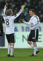 Fotball Testimonial Roar Strand,  Rosenborg - Tippeliga All-Stars 11 november  2010<br /> Lerkendal Stadion, Trondheim<br /> <br /> Roar Strand har scoret og gratuleres av Fredrik Winsnes<br /> <br /> <br /> Foto : Arve Johnsen, Digitalsport