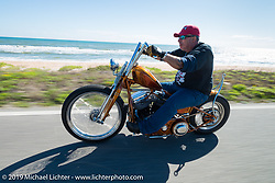 Ray Ray Llanes out for a ride on his Warren Lane custom Panhead during Daytona Bike Week. FL, USA. March 14, 2014.  Photography ©2014 Michael Lichter.