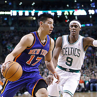04 March 2012: New York Knicks point guard Jeremy Lin (17) drives past Boston Celtics point guard Rajon Rondo (9) during the Boston Celtics 115-111 (OT) victory over the New York Knicks at the TD Garden, Boston, Massachusetts, USA.