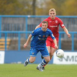 TELFORD COPYRIGHT MIKE SHERIDAN William Sass-Davies of Telford (on loan from Crewe Alexandra) battles for the ball with Sean Miller during the Vanarama National League Conference North fixture between Curzon Asthon and AFC Telford United on Saturday, November 9, 2019.<br /> <br /> Picture credit: Mike Sheridan/Ultrapress<br /> <br /> MS201920-028