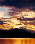 Sunset over the Neacola Mountains of the Alaska Range above Twin Lakes, Lake Clark National Park, Alaska.