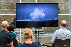 © Licensed to London News Pictures. 06/08/2020. London, UK. Members of the press view the new Imperial War Museum video commission 'I Saw The World End' by artist Es Devlin and artist Machiko Weston. The work commemorates the 75th Anniversary of the bombings of Hiroshima an d Nagasaki. Photo credit: Ray Tang/LNP