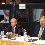 UEFA Executive Committee holds successful Istanbul meeting. His toenails broken because of that he was walking with slepers Lennart Johansson.  Lennart Johansson (R) with Senez ERZIK (C), Aigner (L) during their press conference.<br /> Photo by Aykut AKICI/TurkSporFoto