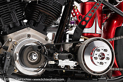 Tom Keefer's Red Knuckleduster, a S&S Knucklehead, built in 2011,. Photographed by Michael Lichter in Sturgis, SD.  August 6, 2020. ©2020 Michael Lichter