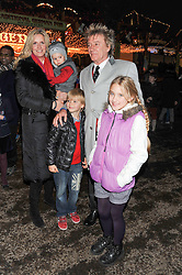 ROD STEWART & PENNY LANCASTER with their family at the opening of the 2012 Winter Wonderland, Hyde Park on 22nd November 2012.