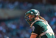 Derek Norris #36 of the Oakland Athletics looks on during a game against the Minnesota Twins on April 9, 2014 at Target Field in Minneapolis, Minnesota.  The Athletics defeated the Twins 7 to 4.  Photo by Ben Krause