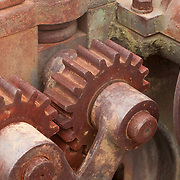 Rusty gear works ? part of the mechanism of the Gloucester Marine Railways. The oldest continuously operated shipyard in the USA.