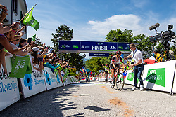 Matteo SOBRERO of ASTANA - PREMIER TECH, Tadej POGACAR of UAE TEAM EMIRATES and Diego ULISSI of UAE TEAM EMIRATES in the finish during the 4th Stage of 27th Tour of Slovenia 2021 cycling race between Ajdovscina and Nova Gorica (164,1 km), on June 12, 2021 in Slovenia. Photo by Matic Klansek Velej / Sportida