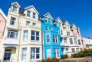 Historic colourful houses on the seafront, Aldeburgh, Suffolk, England, UK