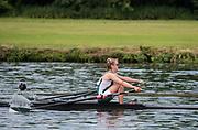 Henley. Berks, United Kingdom. <br /> <br /> Phoebe CAMPBELL. University of Exeter. JW1X. Competing at, 2017 Henley' Women's  the Regatta. Rowing on, Henley Reach. River Thames. <br /> <br /> Sunday  18/06/2017<br /> <br /> <br /> [Mandatory Credit Peter SPURRIER/Intersport Images]