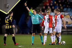 (L-R) Thomas Buitink of Vitesse, referee Dennis Higler, Karim El Ahmadi of Feyenoord, Jan-Arie van der Heijden of Feyenoord during the Dutch Eredivisie match between Vitesse Arnhem and Feyenoord Rotterdam at Gelredome on February 11, 2018 in Arnhem, The Netherlands