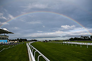 A rainbow forms over Bath Racecourse during the Valuerater.co.uk Handicap won by Singing The Blues ridden by Daniel Muscutt and trained by Rod Millman - Mandatory by-line: Robbie Stephenson/JMP - 18/07/2020 - HORSE RACING- Bath Racecourse - Bath, England - Bath Races 18/07/20