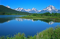 Reflections of Mount Moran and the Teton Range in the Snake River at Oxbow Bend.  Grand Teton National Park.  Wyoming, USA
