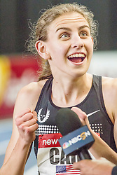 New Balance Indoor Grand Prix Track, Mary Cain reacts to winning race in record time