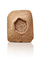 Hittite cuneiform clay tablet,  Hattusa, Hittite  Kingdom 1600-1200 BC, Bogazkale archaeological Museum, Turkey. White background