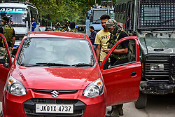 July 26, 2018 - Srinagar, J&K, India - Indian government forces seen inspecting a vehicle..Frisk operations by government forces after recent attacks in the summer capital, Srinagar where a policeman was killed and one injured. (Credit Image: © Saqib Majeed/SOPA Images via ZUMA Wire)