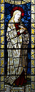 Blessed Virgin Mary depicted in stained glass window by Burlisson and Grylls 1906, All Saints church, Stanton St Bernard, Wiltshire,